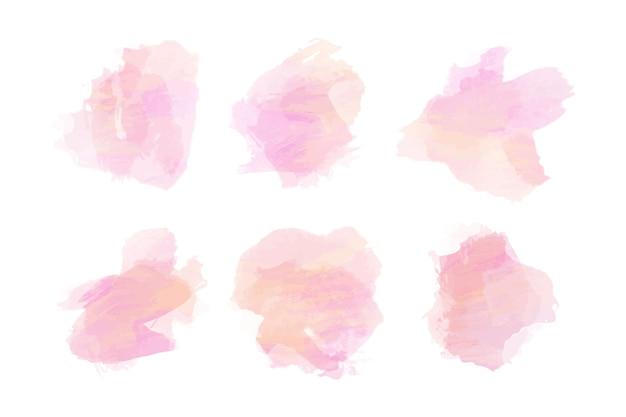 Coleção de manchas de aquarela rosa