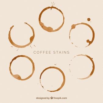 Coleção de manchas de café realista