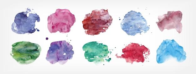 Coleção de manchas pintadas à mão com aquarela isolada no fundo branco. pacote de manchas de tinta de diferentes formas e cores. conjunto de elementos de design aquarelle. ilustração colorida do vetor.