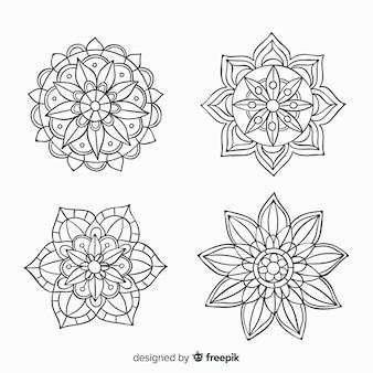 Coleção de mandala decorativa desenhada de mão