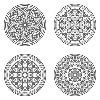 Coleção de mandala desenhada à mão estilo círculo