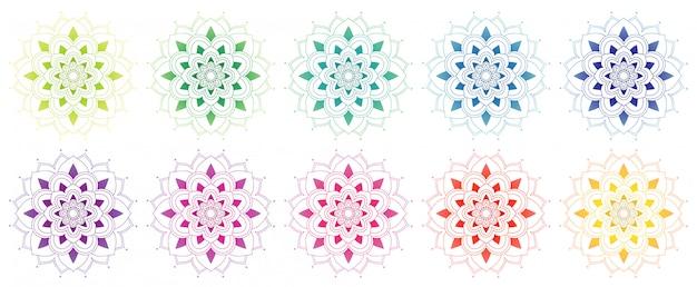 Coleção de mandala em muitas cores