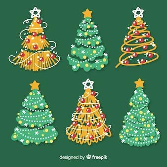 Coleção de mão colorido desenhado árvore de natal