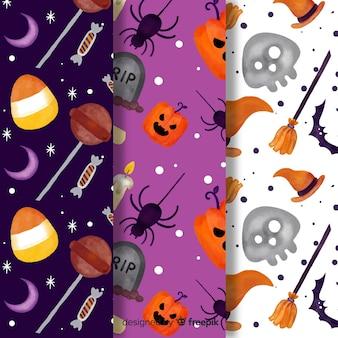 Coleção de mão colorido desenhado padrão de halloween