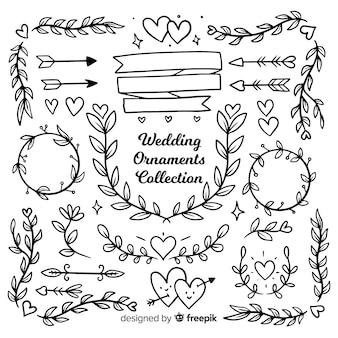 Coleção de mão de enfeites de casamento desenhada