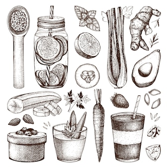 Coleção de mão de tinta desenhada esboços de alimentos e bebidas saudáveis. ilustração de dieta de verão vintage. coleção de elementos de programa de desintoxicação