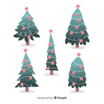 Coleção de mão desenhada árvore de natal