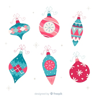Coleção de mão desenhada bolas de natal