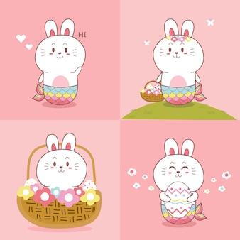 Coleção de mão desenhada bonito coelhinha sereia kawaii dos desenhos animados