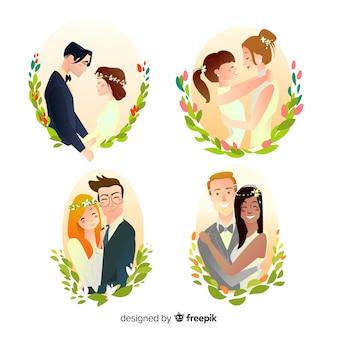Coleção de mão desenhada casal de noivos