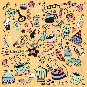 Coleção de mão desenhada contorno estilo buffet pequeno-almoço, isolat