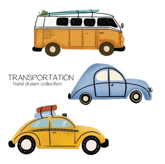 Coleção de mão desenhada de transporte