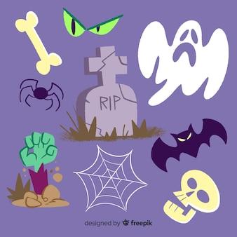Coleção de mão desenhada elemento halloween