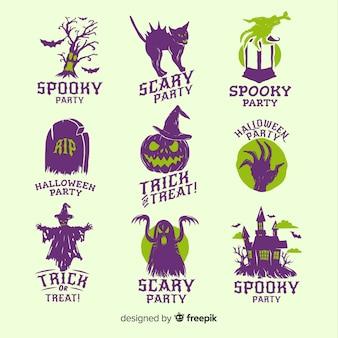 Coleção de mão desenhada emblemas de halloween