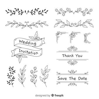 Coleção de mão desenhada enfeite de casamento