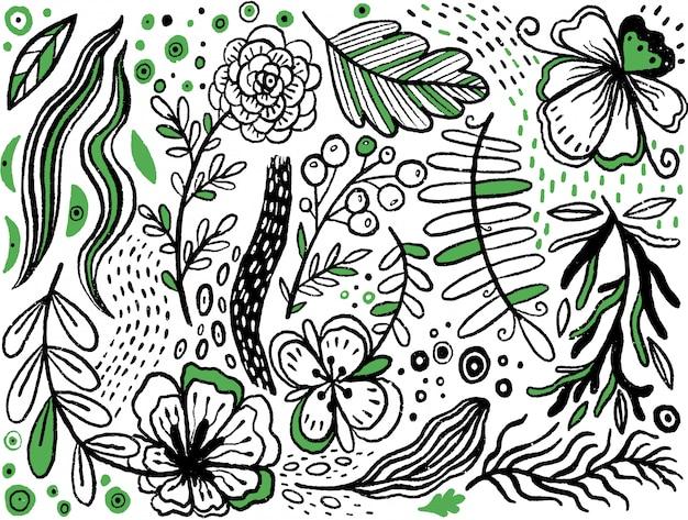 Coleção de mão desenhada flores manuais e plantas