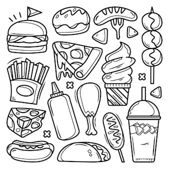 Coleção de mão desenhada junk food doodle