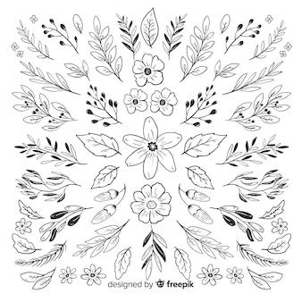Coleção de mão desenhada ornamento floral