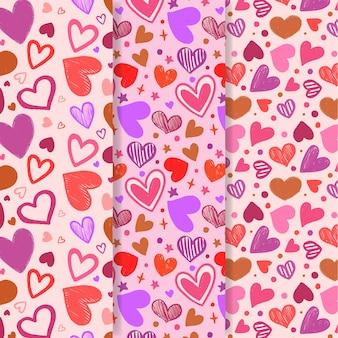 Coleção de mão desenhada padrão de dia dos namorados