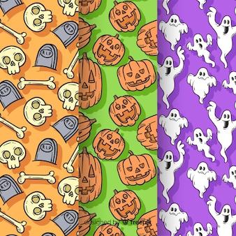 Coleção de mão desenhada padrão de halloween