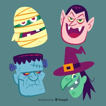 Coleção de mão desenhada personagem de halloween