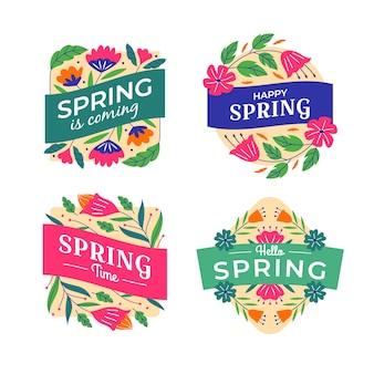 Coleção de mão desenhada rótulos de primavera