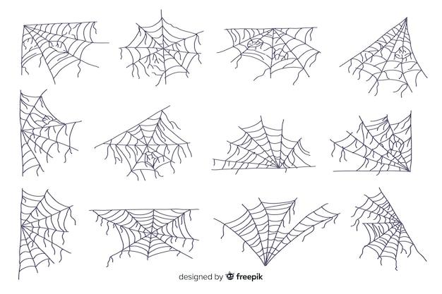 Coleção de mão desenhada teia de aranha no fundo branco