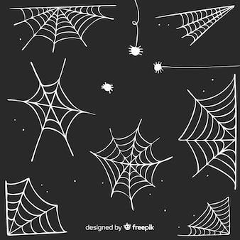 Coleção de mão desenhada teia de aranha