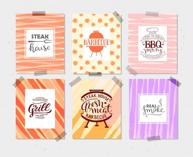 Coleção de mão desenhada texto de comida grelhada, salsichas, frango, batatas fritas, bifes, peixe