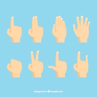 Coleção de mãos com poses diferentes em estilo simples