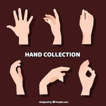 Coleção de mãos com poses diferentes na mão desenhada estilo