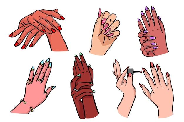 Coleção de mãos de manicure