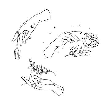 Coleção de mãos mágicas lineares. conjunto de mãos de cartomante ou bruxa. ilustração vetorial