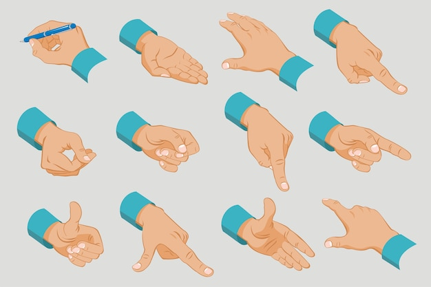 Coleção de mãos masculinas com diferentes gestos e sinais em estilo isométrico isolado