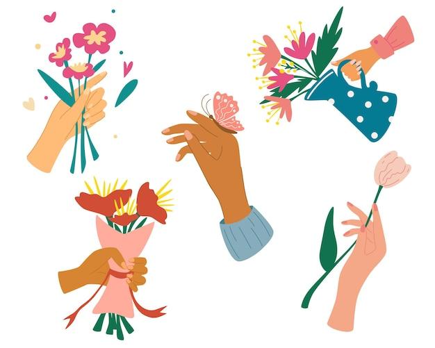 Coleção de mãos segurando buquês ou ramos de flores desabrochando. mãos de pele diferente