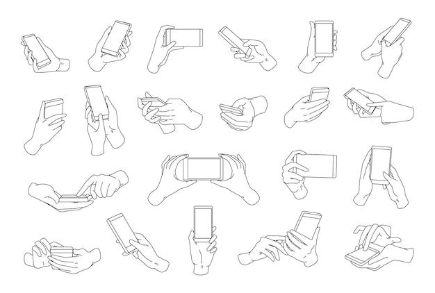 Coleção de mãos segurando um smartphone moderno desenhado com linhas de contorno pretas