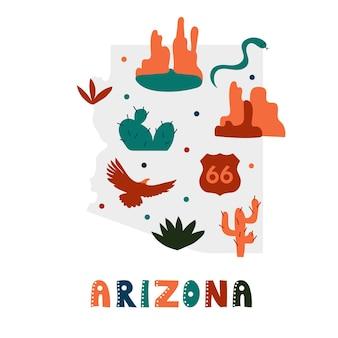 Coleção de mapas dos eua. símbolos do estado e natureza na silhueta do estado cinza - arizona. estilo simples de desenho animado para impressão