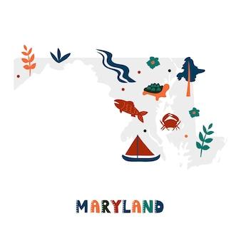 Coleção de mapas dos eua. símbolos estaduais na silhueta estadual cinza - maryland