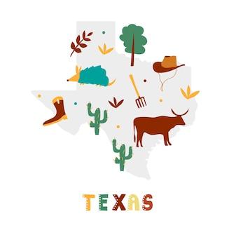 Coleção de mapas dos eua. símbolos estaduais na silhueta estadual cinza - texas