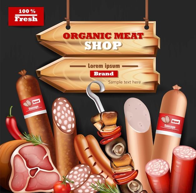 Coleção de maquetas de carne orgânica