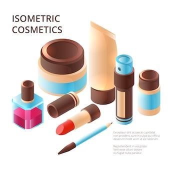 Coleção de maquiagem isométrica. profissional de beleza itens coloridos sombra para olhos paleta de plástico pele brilho fotos 3d