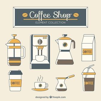 Coleção de máquinas de café e outros acessórios