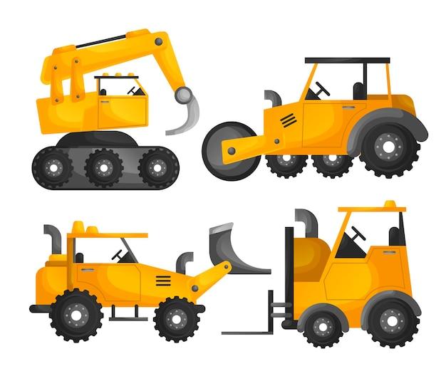 Coleção de máquinas escavadoras