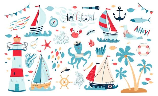 Coleção de mar bonito com veleiro, farol, peixe, polvo, gaivota, caranguejo, isolado no fundo branco.