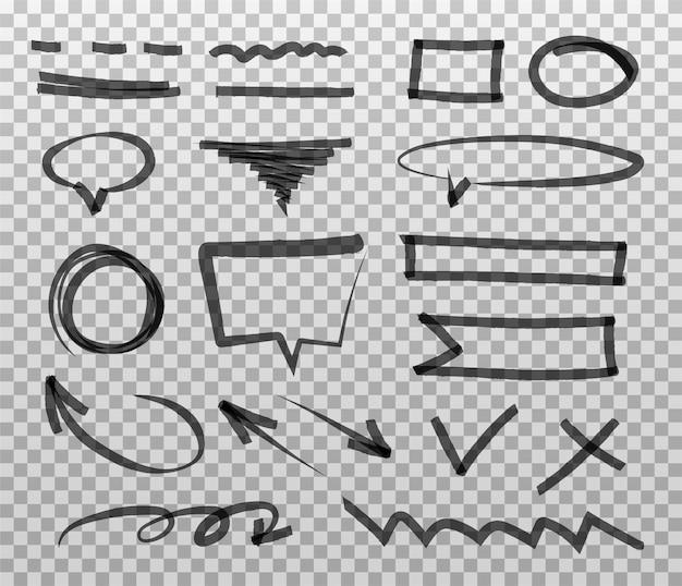 Coleção de marcador pintado à mão abstrato. conjunto de marcas de realce preto, traços, listras e setas.