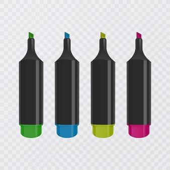Coleção de marcadores brilhantes e coloridos com marcações, marcadores realistas