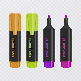 Coleção de marcadores brilhantes e coloridos, marcadores realistas