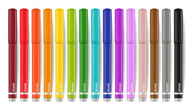 Coleção de marcadores coloridos