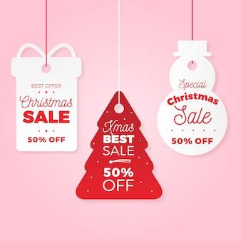 Coleção de marcas de venda de natal em estilo de jornal