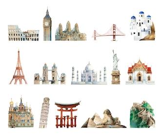 Coleção de marcos arquitetônicos pintados por aquarela